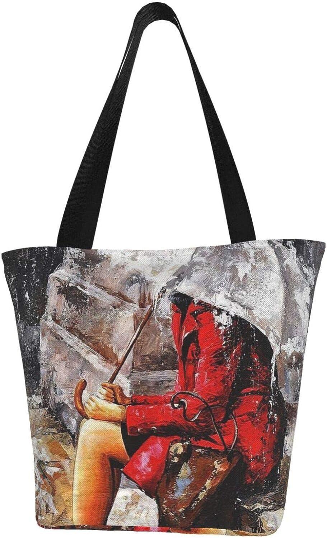 Red Woman Umbrella Sad Rainy Season Themed Printed Women Canvas Handbag Zipper Shoulder Bag Work Booksbag Tote Purse Leisure Hobo Bag For Shopping