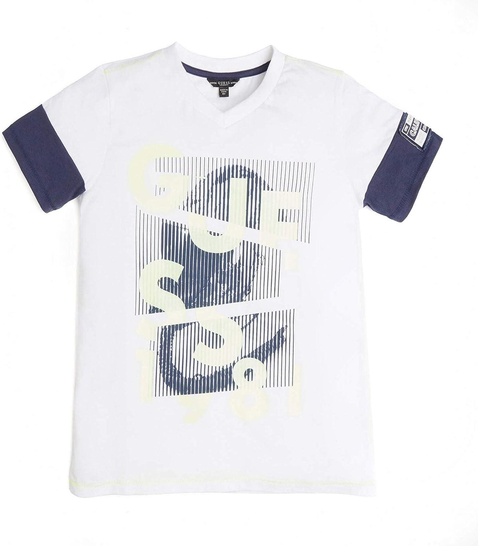 GUESS Boys' Big Gel Print Logo Short Sleeve T-Shirt