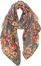 GERINLY Spring Lightweight Scarves Fashion Flowers Print Women Shawl Wrap