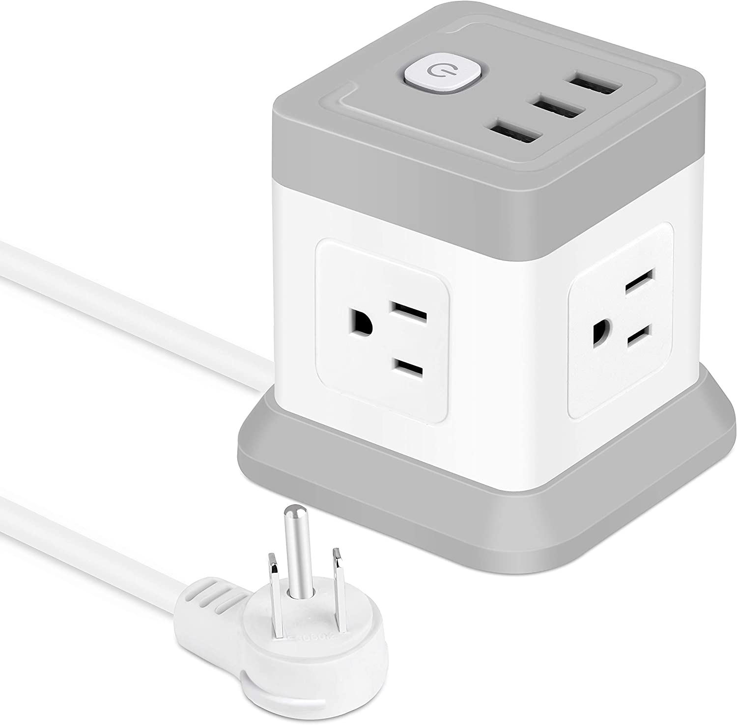 Power Strip with 4 Outlets 3 USB Ports, BEVA Cube Extension Cord Flat Plug Small Desktop Charging Station with 5ft Power Cable Multi Protection for Travel, Cruise Ship, Office, Dorm Room