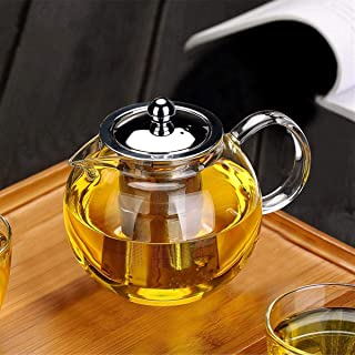 Small Glass Teapot with Removable Infuser, OBOR Stovetop Safe Kettle, Blooming and Loose..