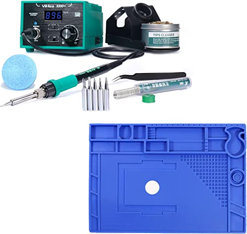 """discount YIHUA new arrival 939D+ Professional Soldering Station (Green) bundle with 17.32"""" x 12.20"""" M180 Electronic Repair Mat Bundle with Iron holder, Soldering Cleaning Kit wholesale and Accessories (13 Items) outlet sale"""