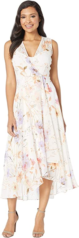 Floral Print High-Low Chiffon Maxi Dress