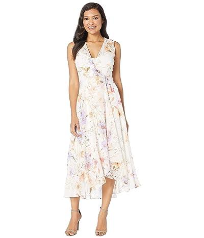 Calvin Klein Floral Print High-Low Chiffon Maxi Dress (Cream Multi) Women