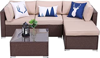 Green4ever Outdoor 5 Piece Furniture Set Patio Sectional Rattan Sofa Sets, All Weather PE Wicker Couch Conversation Set with Coffee Table, Brown Wicker Beige Cushions