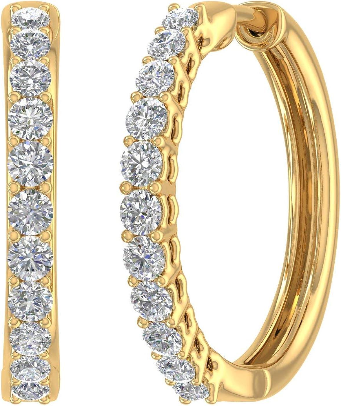 1 Carat Diamond Hoop Earrings wholesale in trend rank Certified IGI - 14K Gold