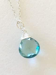 Aquamarine Briolette Necklace, March Birthstone, Faceted Aquamarine, Heart Briolette.925 Sterling Silver, 14K Gold Fill, Gemstone Necklace.
