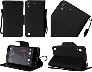 HTC Desire 530 / Desire 555 / Desire 630 / Desire 550 case, Luckiefind PU Leather Flip Wallet Credit Card Cover Case, screen protector, Stylus Pen Accessory (Wallet Black)