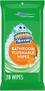 Scrubbing Bubbles Antibacterial Bathroom Flushable Wipes, Citrus Action, 28 count