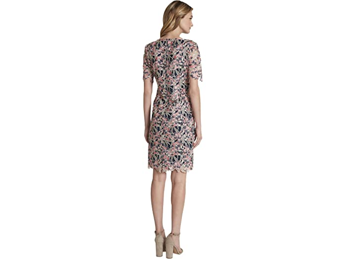 Tahari By Asl Elbow Sleeve Embellished Lace Cocktail Dress Beige/coral/navy