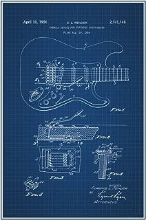 Electric Guitar Official Patent Blueprint Cool Wall Decor Art Print Poster 12x18