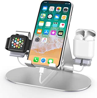 3 in 1 Aluminum Charging Station for Apple Watch Charger Stand Dock for iWatch Series 4/3/2/1,iPad,AirPods and iPhone Xs/X...