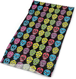 Unisex Stylish Halloween Mexican Sugar Skull Quick Dry Microfiber Headwear Outdoor Magic Bandana As Neck Gaiter Head Wrap Headband Scarf Face Mask Ultra Soft Elastic One Size