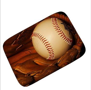 SHIEM Chambre D'enfants Or Basketball Flannel Tapis/Tapis de Sol Salle de Bain Cuisine Baseball Tapis Tapis de Toilette F