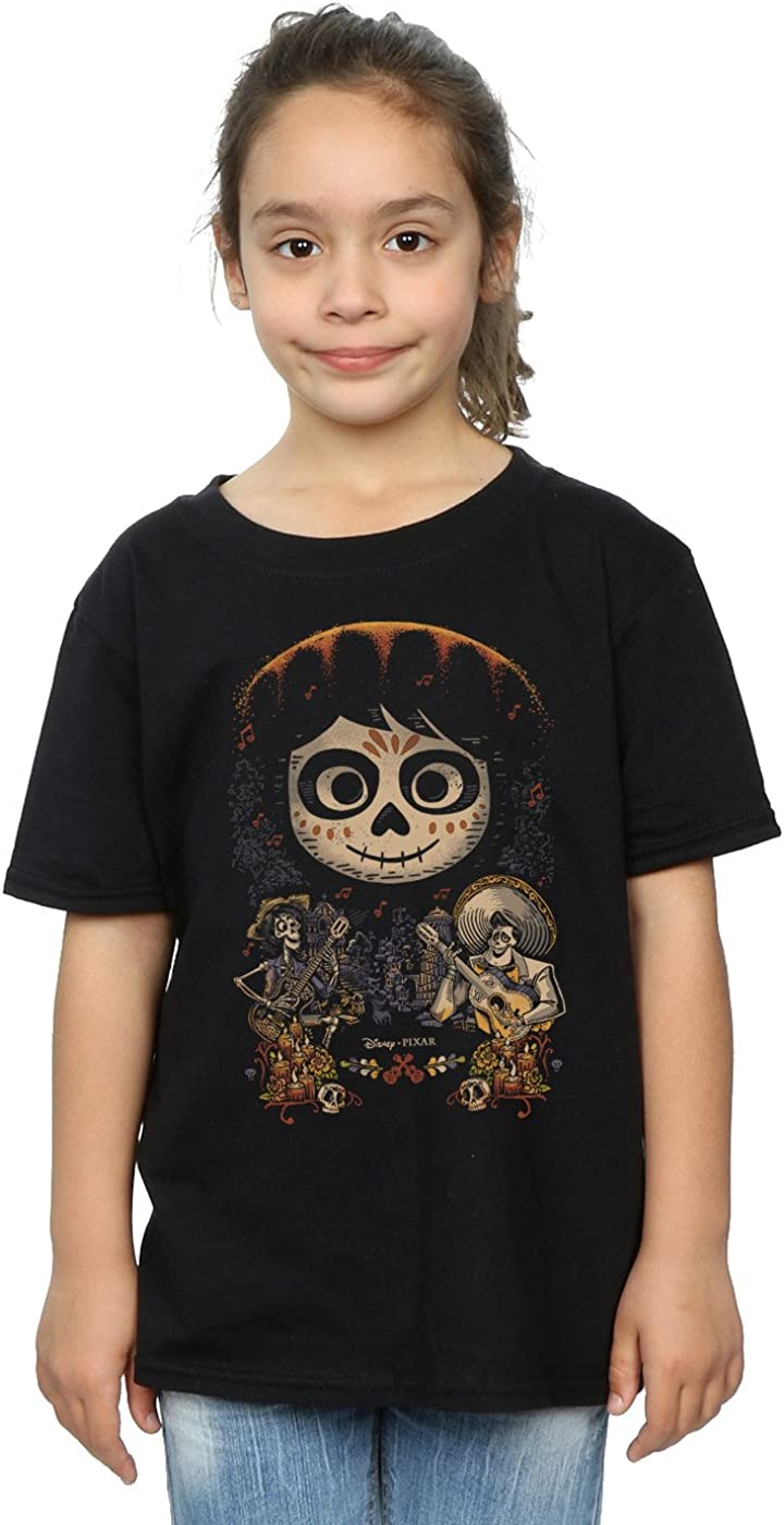 Disney Girls Coco Miguel Face Poster T-Shirt 5-6 Years Black