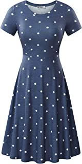 46684928f146 HUHOT Women Short Sleeve Round Neck Summer Casual Flared Midi Dress