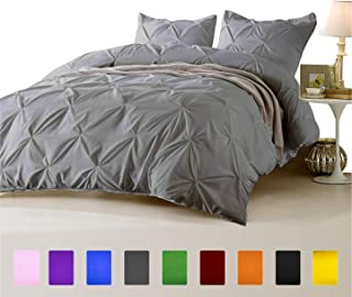 FINE LECHO Soft Luxurious 3-Piece Pinch Pleated Pintuck Decorative Quilt Duvet Cover Set Highest Quality Egyptian Cotton 800 Thread Count Comforter Cover (King/Cal-King, Silver Grey