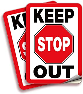 Keep Out Stop, Sign Stickers – 2 Pack 7x10 Inch – Premium Self-Adhesive Vinyl, Laminated for UV, Weather, Scratch, Water &...