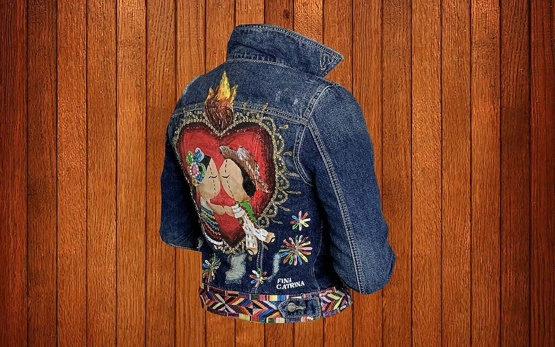 Women's Hand Painted Denim Jacket KISS Love FIRE