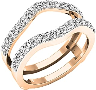 Round Diamond Ladies Wedding Enhancer Double Ring cttw 14K Gold Dazzlingrock Collection 0.18 Carat
