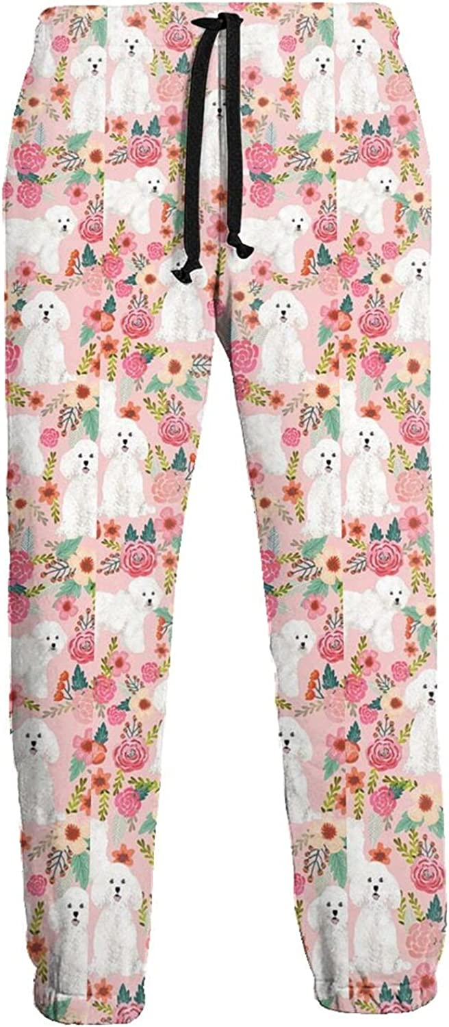 KAWAHATA Dog Pink Florals Men's Pants with Pockets Tapered Athletic Sweatpants 3D Casual Active Sports Pants