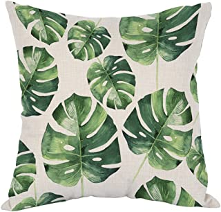 Moslion Palm Pillow,Home Decor Throw Pillow Cover Tropical Hawaii Leaves Palm Tree Cotton Linen Cushion for Couch/Sofa/Bedroom/Livingroom/Kitchen/Car 18 x 18 inch Square Pillow case