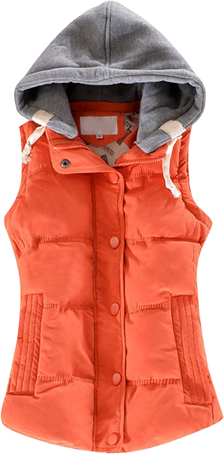 TYQQU Women's Sleeveless Quilted Vest Solid Color Removable Hooded Puffer Waistcoat