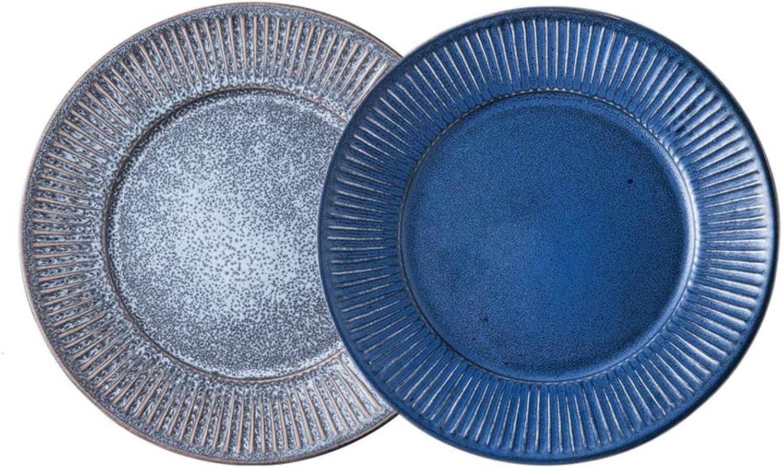 Assiette En Céramique La Vaisselle Vintage De Qualité Mate Glaze Pour Usage Domestique Et Restauration (9 Pouces, Un Ensemble De 2 Pièces)