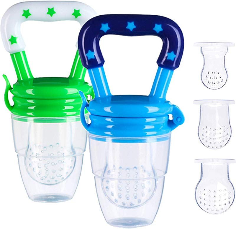 Baby Food Feeder Fresh Feeder Pacifier 2 Pack With 3 Different Sized Silicone Pouches Infant Teether Feeder For Toddlers Infants