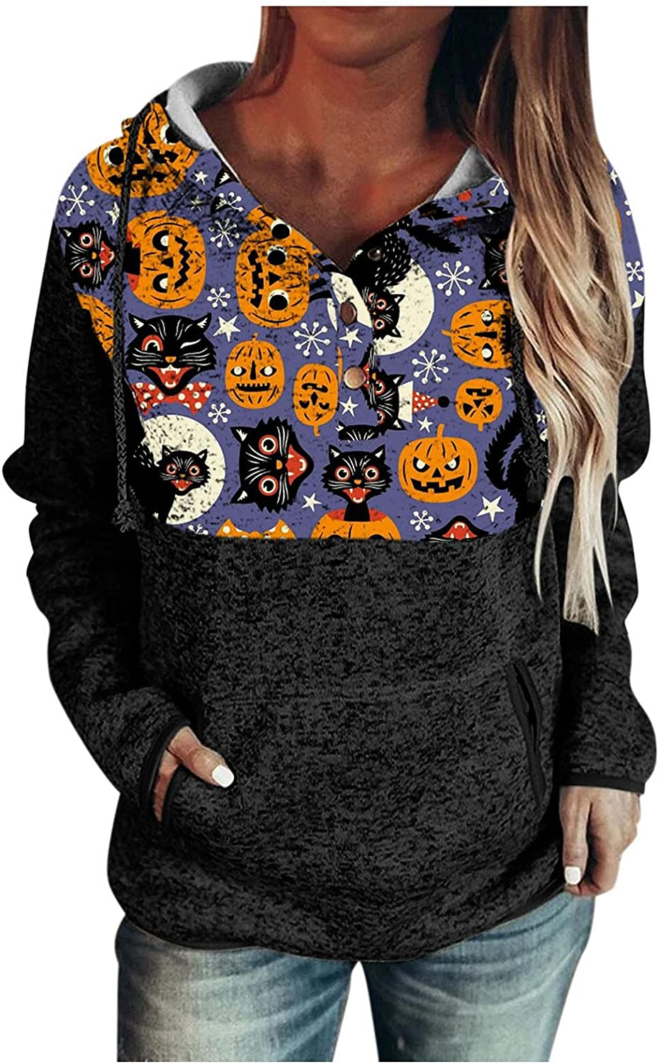 felwors Halloween Hoodies for Women, Womens Pullover Hoodies with Pockets Button Down Casual Long Sleeve Sweatshirts