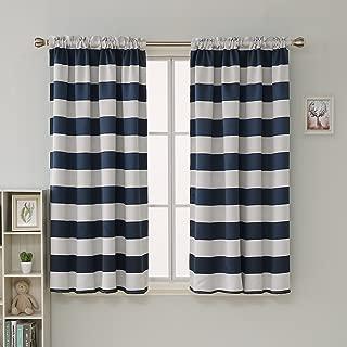 Deconovo Navy Blue Striped Room Darkening Curtains Rod Pocket Nautical Navy and Grayish White Striped Curtains for Kids Room 52W X 45L Navy Blue 2 Panels