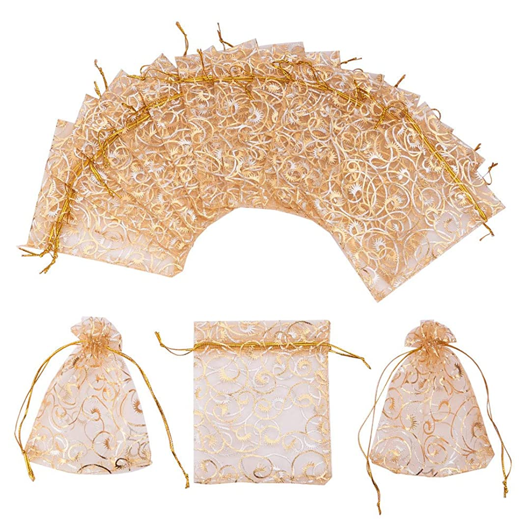PH PandaHall 100 PCS 3.5 x 4.7 Inches Golden Eyelash Printed Organza Bags Jewelry Pouch Bags Organza Drawstring Pouches Wedding Favors Candy Gift Bags