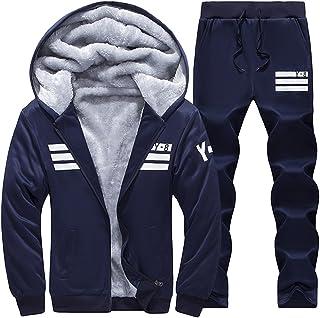 Goorape Mens Fleece Lined Sweatsuit Striped Casual Winter Coat Sports Tracksuit Lightgrey S