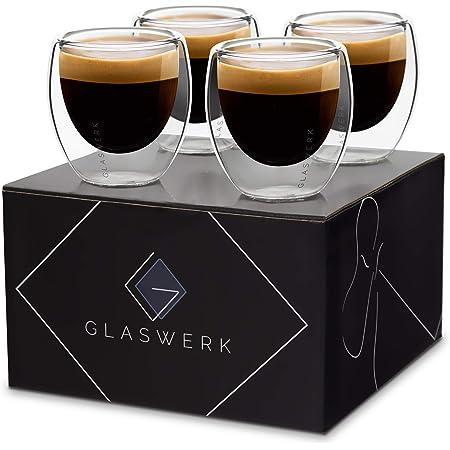 GLASWERK Verre double paroi à tasse expresso (4 x 70 ml) tasse a cafe design - Tasses à expresso, tasse double paroi, mug transparent, tasse à expresso lavable au lave vaisselle bob, tasse a cafe