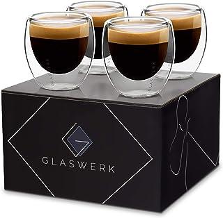GLASWERK Tasses à espresso design - Verres à espresso à double paroi en verre borosilicaté, Ensemble de tasses à espresso ...