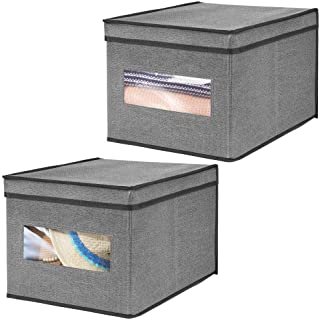 mDesign Soft Fabric Stackable Closet Storage Organizer Box with Clear Window and Attached Hinged Lid for Bedroom, Hallway, Entryway, Closets - Textured Print, Large, 2 Pack - Charcoal Gray/Black