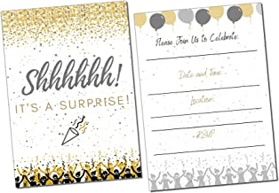 Surprise Party Invitations | It's a Surprise Birthday | Kids and Adults | Fill in Style | Black and Gold | Confetti Streamers Party Invitations | 20 Count with Envelopes