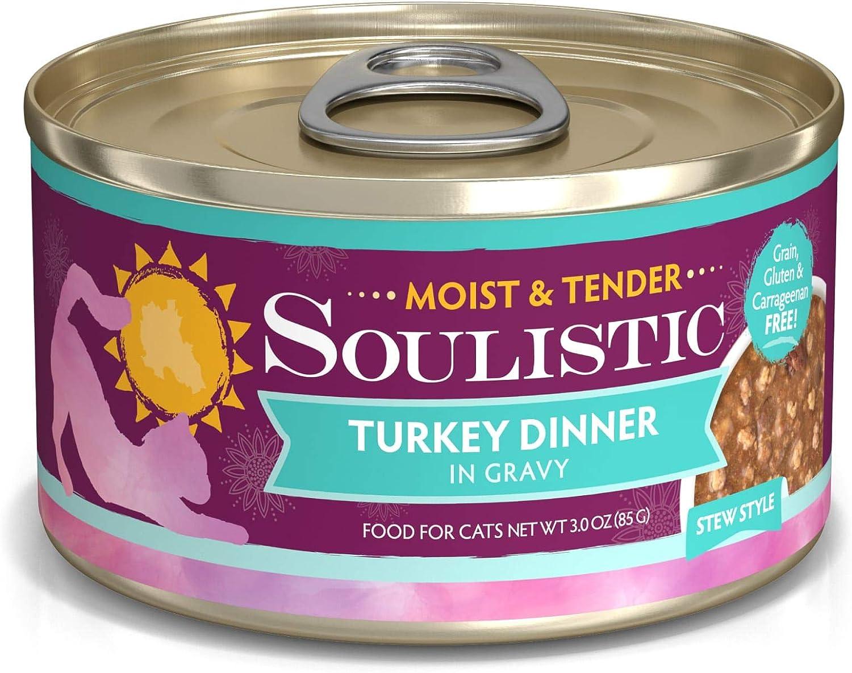 Soulistic Moist & Tender Turkey Dinner in Gravy Wet Cat Food, 3 oz., Case of 12, 12 X 3 OZ
