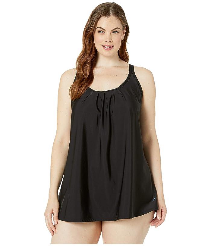 Speedo Double Strap One-Piece Swim Dress (Speedo Black) Women