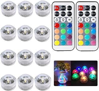 12pcs RGB Submersible LED luces multicolor LED té luz w / control remoto para la boda de la piscina decoración