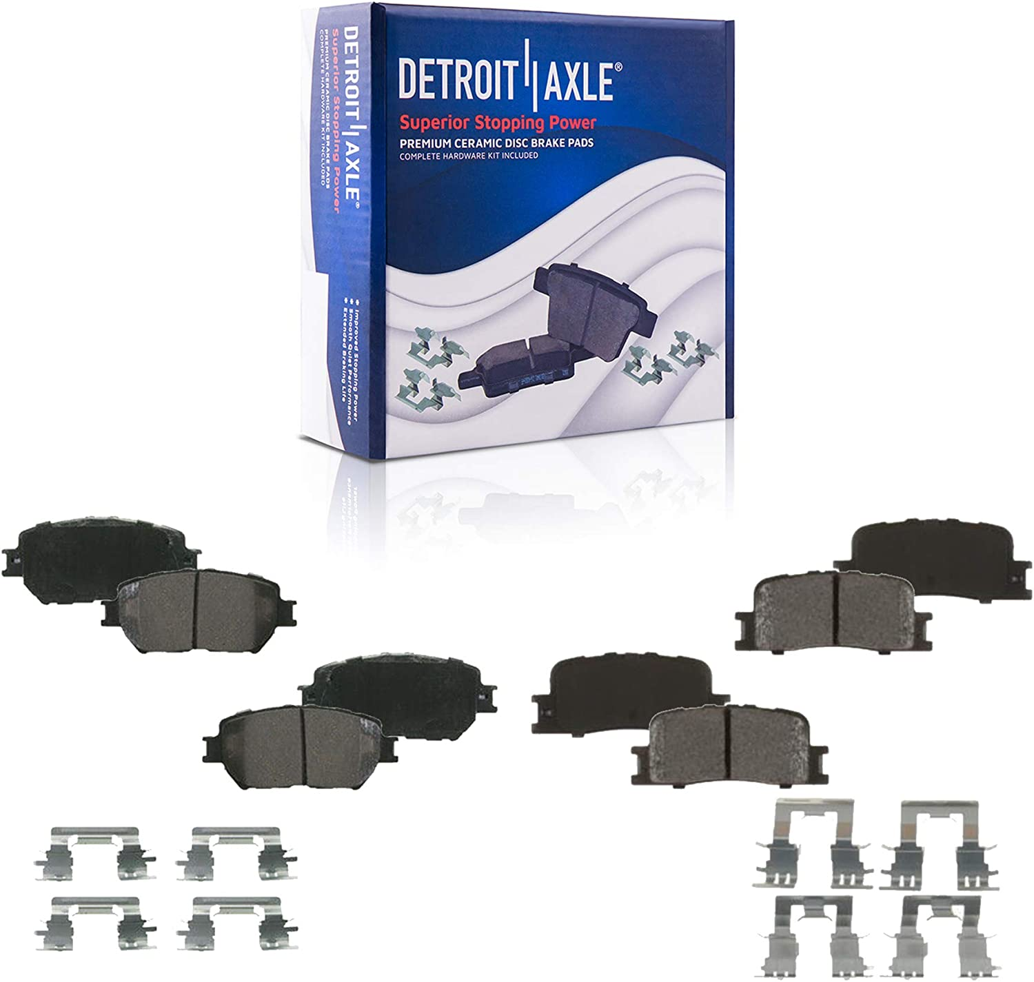 Detroit Axle - Front and Rear Ceramic 驚きの値段 ブランド激安セール会場 Brake Pads f with Hardware