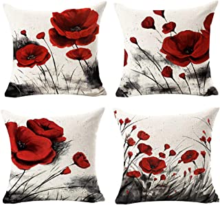 Andreannie Set of 4 Beautiful Charming Watercolor Oil Ink Painting Red Poppy Flower Cotton Linen Throw Pillow Case Cushion Cover Decorative for Sofa Living Room Square 18 Inches (F)