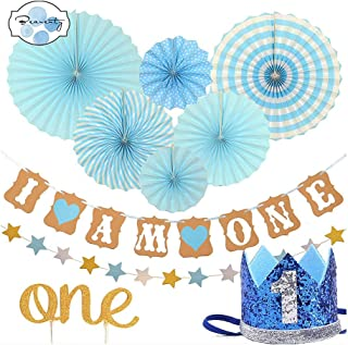 Beauenty FIRST BIRTHDAY DECORATION SET FOR BOY- 1st Baby Boy Birthday Party, Blue Hat Crown, Circle Dots Paper Garland, Ca...