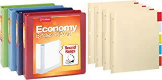 Cardinal 3 Ring Binder Economy Pack with 4 Sets of Binder Dividers, 1.5 Inch, Round Rings, Holds 350 Sheets, ClearVue Pres...