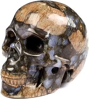 "Skullis 2.0"" Que Sera Stone Crystal Skull, Hand Carved Gemstone Fine Art Sculpture, Reiki Healing Stone Statue."
