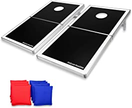 GoSports Cornhole PRO Regulation Size Bean Bag Toss Game Set - Foldable (American Flag, LED, Black, Red & Blue Designs)