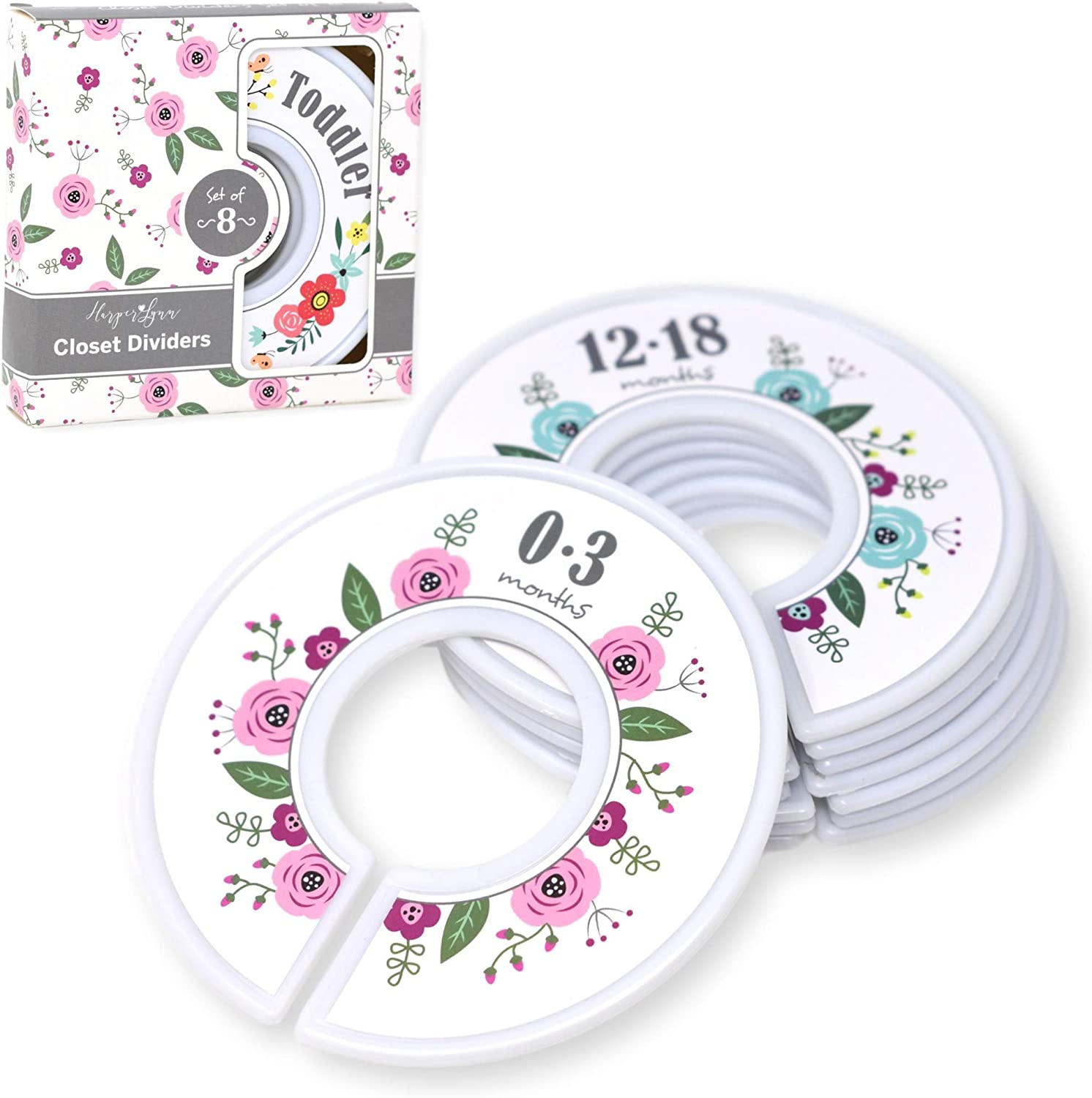 Harperlynn Floral Baby Closet Dividers - Set of 8 Nursery Clothes Organizers - Size Newborn Infant to 2T Toddler. Great Gifts for First Time Parents of Girl. Fits 1.25 Inch Rod.