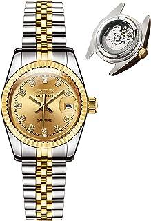 ساعتهای اتوماتیک زنانه JSDUN طلایی و نقره ای ساعت مچی مکانیکی خودپیچ - بزرگتر از پنجره آینه یاقوت کبود