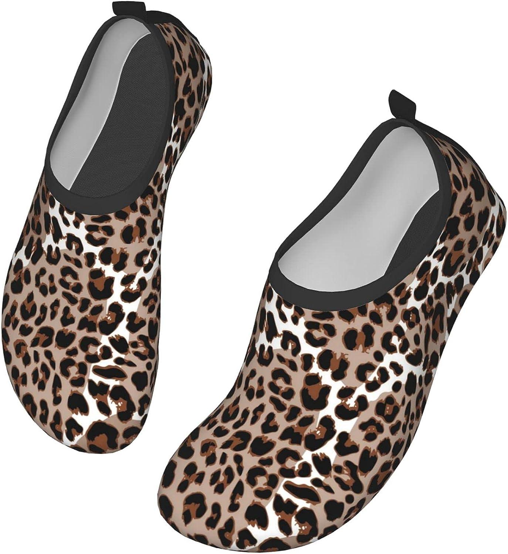 WOAIDY Women/Men Leopard Print Water Shoes Outdoor Beach Aqua Socks Barefoot Shoes Surfing Yoga Swim Exercise,