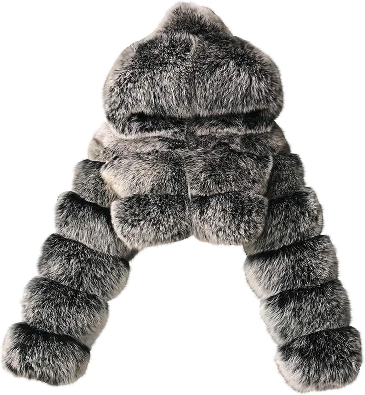 HGWXX7 Womens Jacket Hoodies Fluffy Faux Fur Oversized Outwear Plus Size Long Sleeve Warm Winter Coats Crop Tops